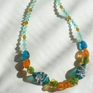 """❤️Artisan Necklace Lamp-work Glass Tropical 18"""""""